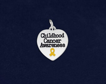 Wholesale Childhood Cancer Awareness Heart Charms (10 Charms) (HRTC-02-11CC)