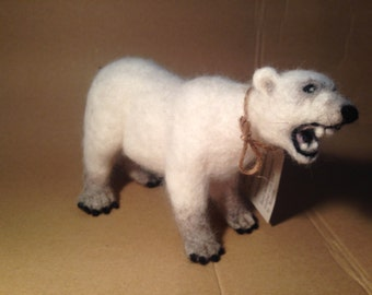 SALE! Needle felted polar bear sculpture