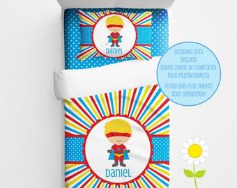 Personalized Superhero Bedding for Kids - Superhero Duvet or Comforter for Boys - Personalized Duvet Set for Kids - Custom Kids' Comforter