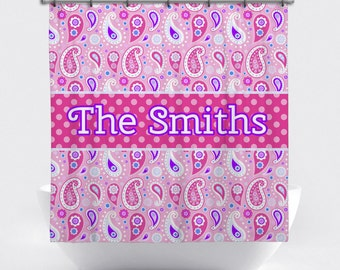 Personalized Shower Curtain - Pink and Purple Paisley Custom Shower Curtain - Shower Curtain with Name - Pink Paisley Bath Decor
