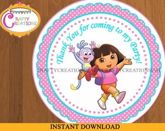 INSTANT DOWNLOAD - Dora Favor Tags - Sticker - Dora The Explorer - Party Tags- Thank You Tags - Gift Tags - Birthday - Printable - CRAFTYUAE