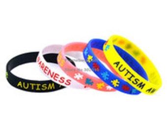 1 PC Autism Awareness Puzzle Pieces Awareness Silicone Wristband Bracelet