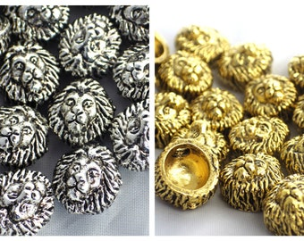 20 x Silver & Gold Metal Lion Head Beads