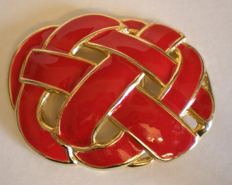 Vintage 80's Enameled Belt buckle Ladies Day-Lor USA Red Enamel with Gold-tone metal FAB 80's Style