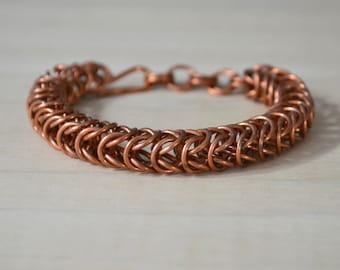 Copper Chain Mail Bracelet, Box Chain Bracelet, Copper Chain Mail, Handmade Chain,  Chain Mail Jewelry, Box Weave Bracelet, Gift for her