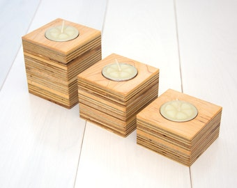 Three wooden candle holders. Reclaimed wood. Maple wood. Modern wooden candle holders. Minimalist. Natural wood. Candle block. Set of 3.