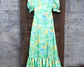 Gorgeous Vintage 70's Lime Green Tree Blossom Print Satin Maxi Dress Prairie Gown