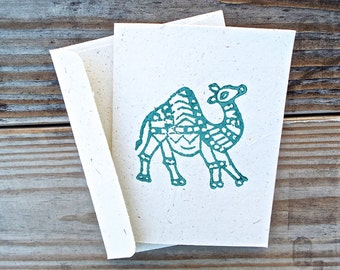 Handblock Printed Camel Greeting Card in Teal - Benefiting Those with Autism
