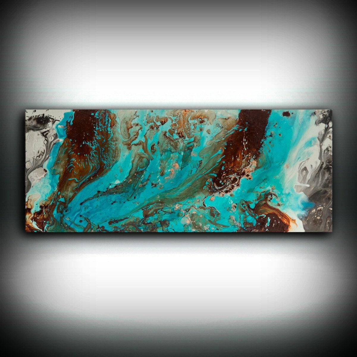 Art Décor: Aqua Print, Blue And Brown Wall Art Decor, Colourful