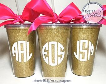Monogram Glitter Tumbler, Personalized Glitter Tumbler, Bachelorette Party Favor, Bachelorette Tumbler, Gold Glitter Cup, Sparkle Cup