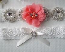 Wedding Garter Set, Bridal Garter Set, Vintage Wedding, Coral Garter Set, Coral Wedding, Starfish Wedding Garter