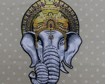 Large Elephant embroidered applique vintage beaded patch Sweater decoration patch 26.5*38cm