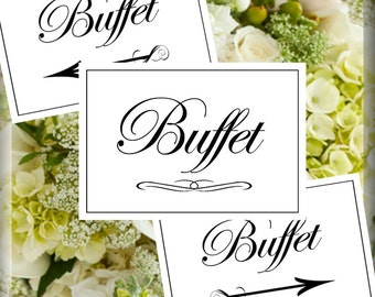 Buffet Table Party Signs Set of 3 5 x 7 inches in both Flat and Tented Styles Printable Instant Download