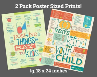 """2-Pack Poster Size 100 Ways to Be Kind + 64 Positive Things 18x24"""""""