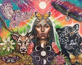 Hand painted wood print original black jaguar hawk deer medicine visionary art