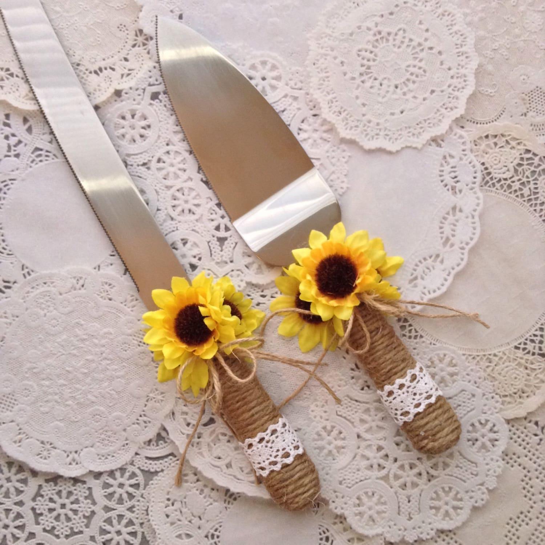 Wedding Cake Server And Knife Set Sunflower Wedding Cake