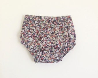 Navy floral baby bloomers