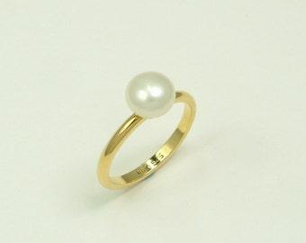 Gold 14k Ring with White Pearl 8 mm (Χρυσό 14k Δαχτυλίδι με Λευκό Μαργαριτάρι 8 mm)
