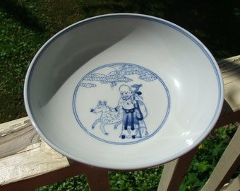 Beautiful Vintage Signed Blue And White Decorated Chinese Porcelain Bowl With Many Painted People Figures And Immortal Characters Marked