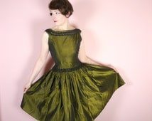 OLIVE GREEN metallic 50s dress by Jenifer Lee - rich green coloured TAFFETA - Rockabilly Mid Century evening gown uk10 / S