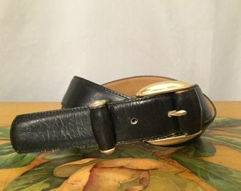 Black Leather Belt Vintage Gold Metal Buckle Women's Medium
