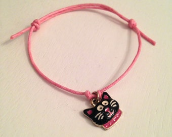 Pink and Black Cute Cat/Kitten Pink Wax Cord Adjustable Bracelet