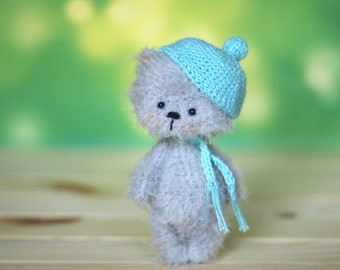 ooak 4 inches miniature Teddy bear Blythe friend, handmade artist toy