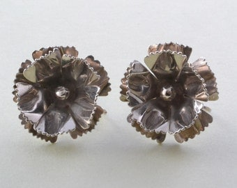 Silver Vintage Screw On Floral Earrings