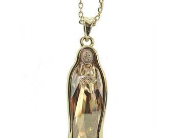 Virgen de Guadalupe Virgin Mary Crystal Pendan Necklace with SWAROVSKI® Crystal.