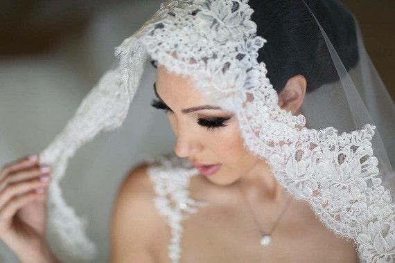 Lace Mantilla, Bridal Veil, Drop Veil, Mantilla ,Alencon Lace Veil, Mantilla Veil ,Lace Mantilla Veil ,Lace Drop Veil, Wedding Veil- TANIA