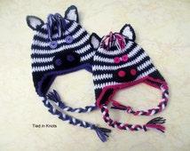 Zebra Hat - Crochet Zebra Hat - Pink Zebra Hat - Purple Zebra Hat - Zebra Hat for girls - Baby Zebra Hat - Black and White hat - Winter hat