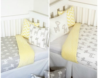Yellow and grey giraffe nursery items