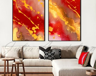 Diptych Painting, Red Abstract Art, Modern Painting, Abstract Print, Red and Gold, Yellow, Orange, Large Print, Wall Decor, Julia Apostolova