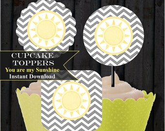 You are my Sunshine, Baby Shower Cupcake toppers Grey and Yellow, printable, digital file, PDF,  DIY,