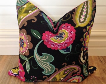 Black and Pink Floral Pillow Cover