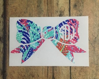 lilly inspired bow monogram   *please read entire description*