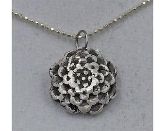 Handmade silver chrysanthemum pendant