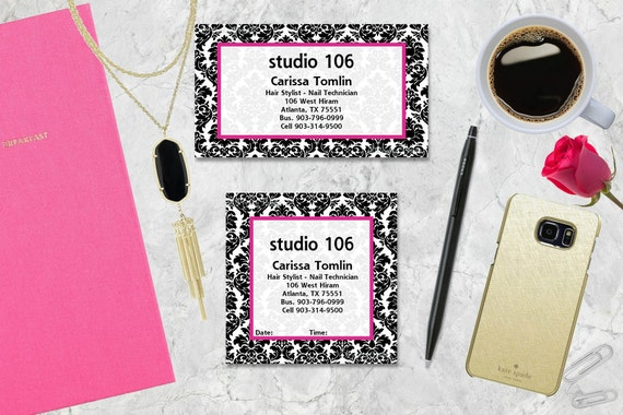 Damask Gift Tags, Gift Tags, Black Damask, Personalized Gift Tags, Tags, Business Cards, Calling Cards, Appointment Cards