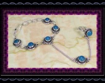 CLEARANCE..!! Stylized Blue Chalcedony Slave Bracelet