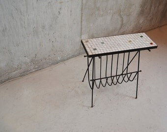 1960's French vintage magazine rack with mosaic tiled table top