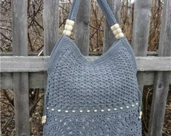 MADE TO ORDER  Gray handmade crochet handbag .Summer cotton boho crochet purse. Knit crochet bags and purses 100 % Cotton