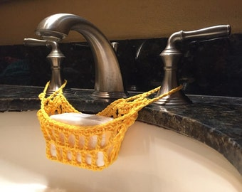 Crocheted Soap Hammock, Soap Saver, Soap Cozy, Bathroom Decor, Yellow