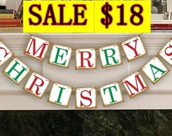 Holiday Decor - Christmas Decor - Merry Christmas Banner - Christmas Photo Prop - Christmas Sign - Christmas Bunting - Christmas Garland