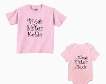 Big sister little sister - custom with names - sister shirt set - personalized sister shirts - color and size choice - girls new - siblings