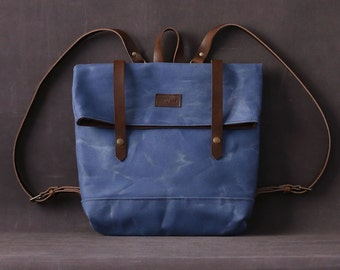 Waxed canvas backpack JUDITH blue