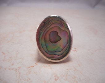Chunky Sterling Silver Abalone Shell Ring 8.5