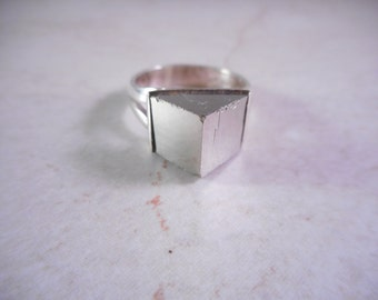 Sterling Silver Ring with Pyrite Cube Crystal ,Pyrite Ring Size 7