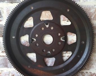 Large Steel Metal Pulley Gear Wheel Industrial Steampunk Flywheel Decor