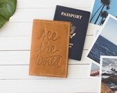 Personalized Embossed See The World Leather Passport Cover   The Earhart