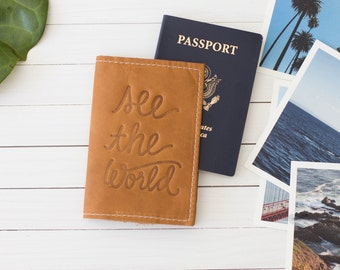 Personalized Embossed See The World Leather Passport Cover, Travel Wallet, Honeymoon Gift, Graduation Gift | The Earhart